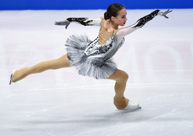 Alina Zagitova (Russia) performs her short program during the women's figure skating competition at the 2018 World Figure Skating Championships in Milan, Italy.