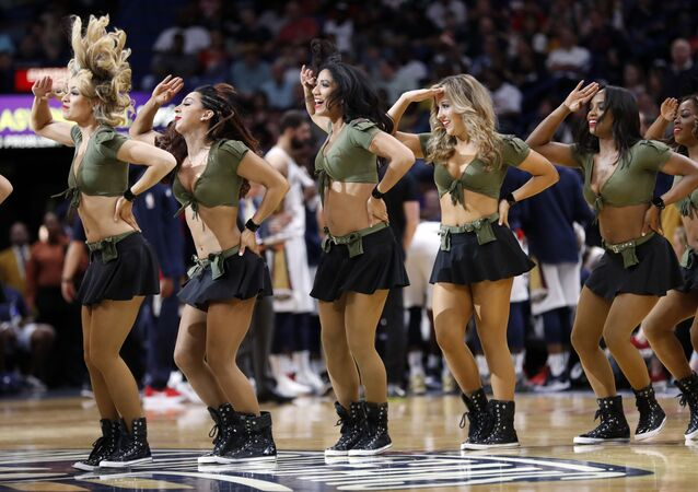 New Orleans Pelicans cheerleaders perform in the first half of an NBA basketball game against the Boston Celtics in New Orleans