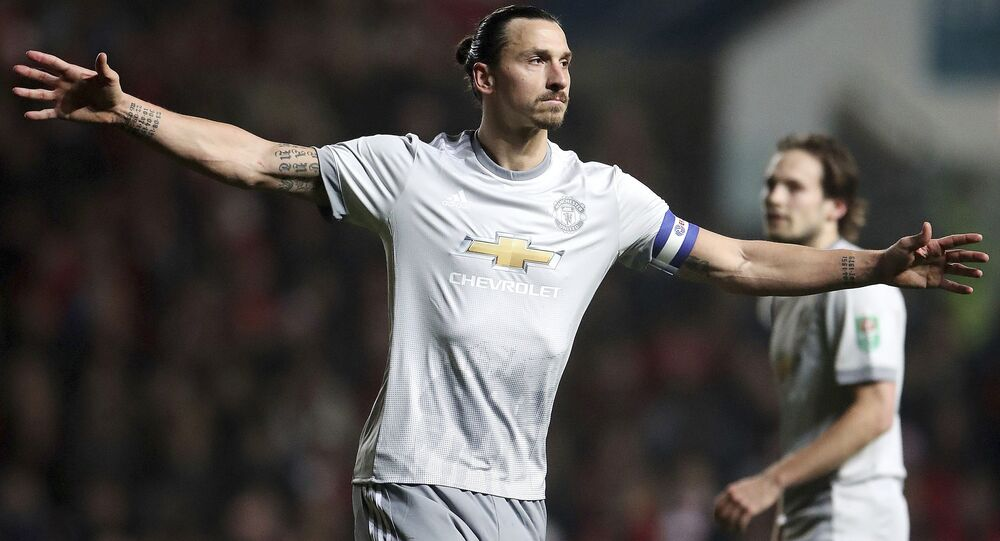 Zlatan Ibrahimovic celebrates scoring his side's first goal