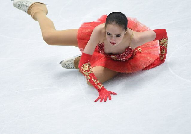 Alina Zagitova of Russia performs her free program at the ISU World Figure Skating Championships in Milan.