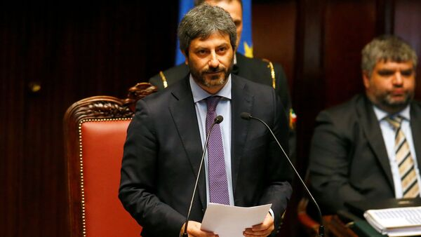 The new Chamber of Deputies president, Five Stars Movement (M5S) Roberto Fico speaks at the Chamber of Deputies during the second session day since the March 4 national election in Rome, Italy - Sputnik International