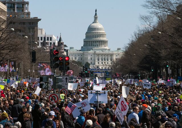 Participants in the March for Our Lives rally in Washignton requiring tightened control over the sales of fire weapons