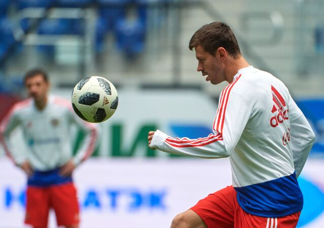 Russia's Fyodor Smolov during a training session prior to a friendly match against France