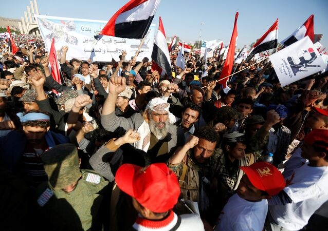 Houthi supporters attend a rally to mark the third anniversary of the Saudi-led intervention in the Yemeni conflict in Sanaa, Yemen March 26, 2018