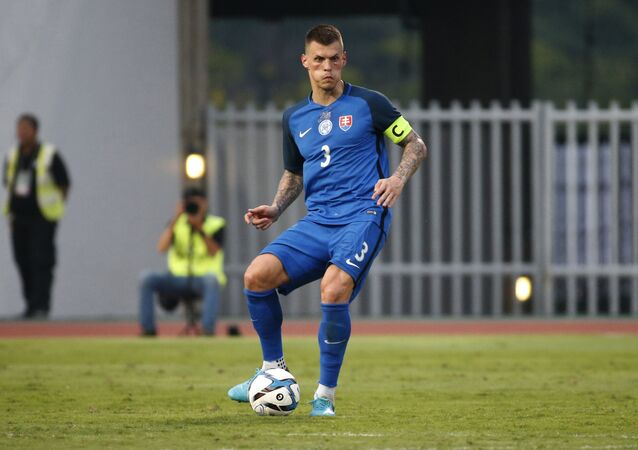 Martin Skrtel of Slovakia control the ball during their King Cup 2018 soccer match at Rajamangala national stadium in Bangkok, Thailand, Thursday, March 22, 2018