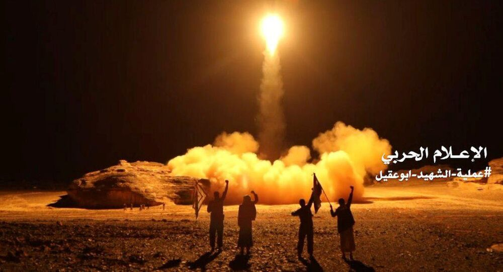 A photo distributed by the Houthi Military Media Unit shows the launch by Houthi forces of a ballistic missile aimed at Saudi Arabia March 25, 2018