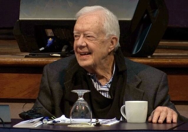 In this image taken from video, former President Jimmy Carter speaks at the annual Human Rights Defenders Forum at The Carter Center, Tuesday, May 9, 2017, in Atlanta
