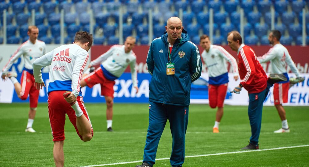 Head coach of the Russian national football team Stanislav Cherchesov during a training session prior to a friendly match against France