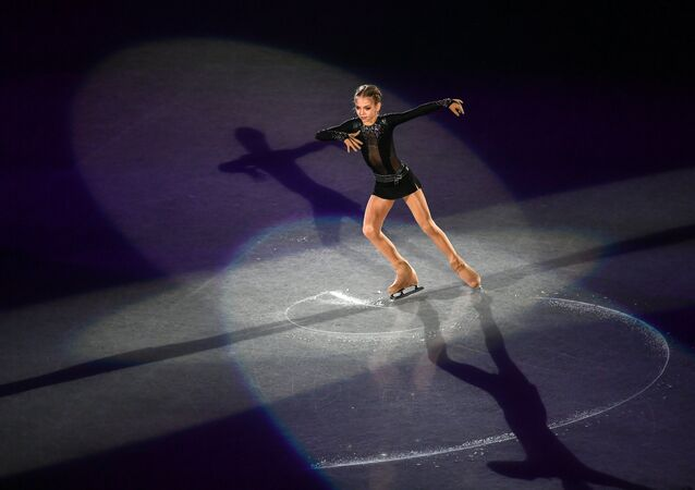 Russia's Alexandra Trusova performs during the exhibition gala at the ISU JGP