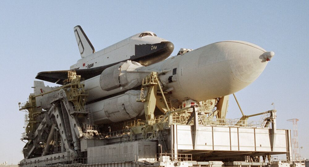 The Energiya space rocket system comprising a launch vehicle and the Buran reusable shuttle. File photo