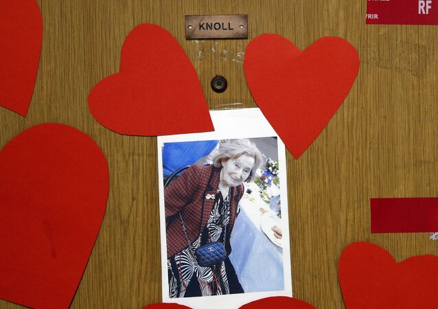 View of the apartment door of Mireille Knoll, 85, who was was slain last week, in Paris, France, Tuesday, March 27, 2018