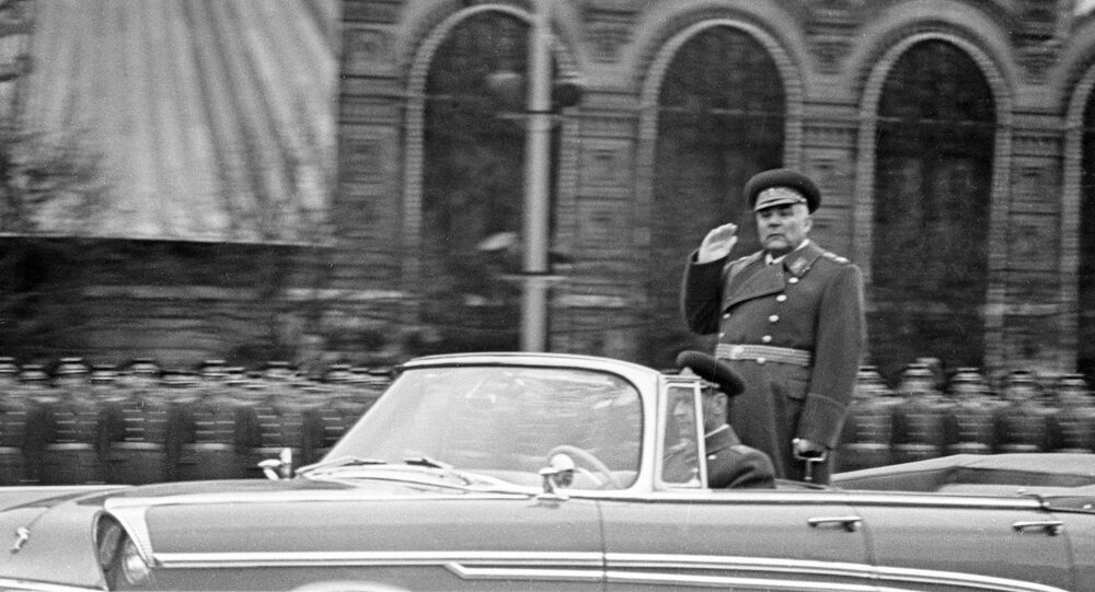 Soviet Defence Minister, Marshal Rodion Yakovlevich Malinovsky taking the salute. (File)