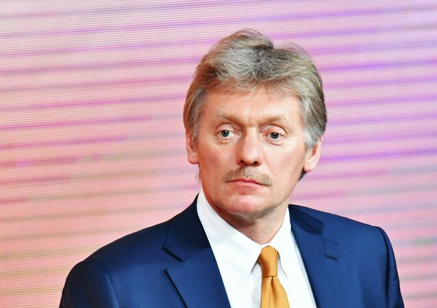 Deputy Chief of Presidential Staff - Presidential Press Secretary Dmitry Peskov during Russian President Vladimir Putin's annual question and answer session at the World Trade Center on Krasnaya Presnya Street, Moscow