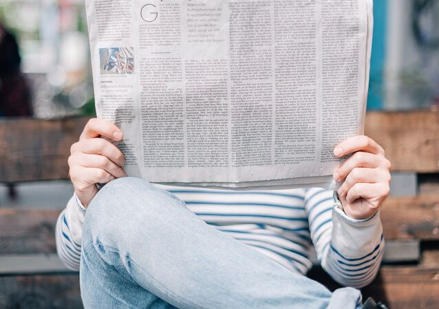 Reading a newspaper