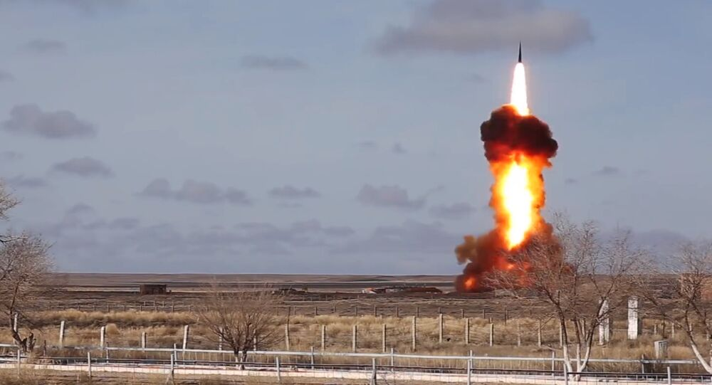 Inter-missile launch from Sary Shagan testing ground. Still frame taken from a video courtesy of the Russian Defense Ministry