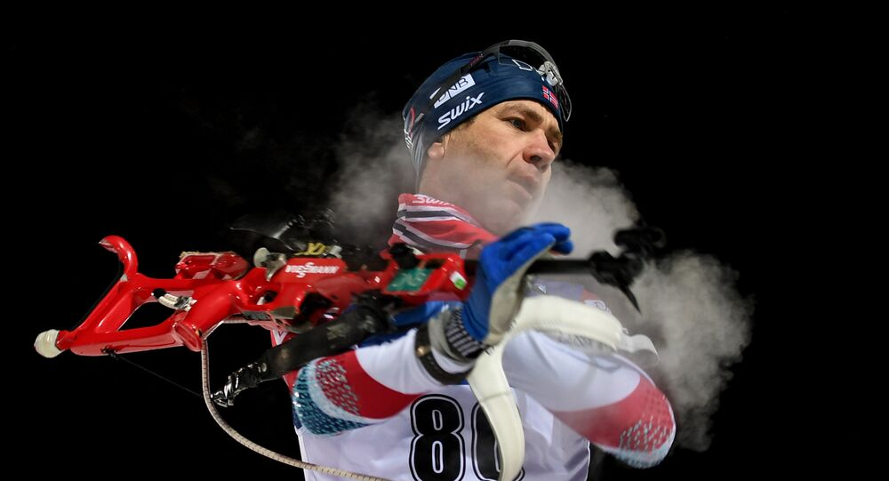 Ole Einar Bjoerndalen (Norway) during the preliminary shooting before the men's individual race at the 2017–18 IBU World Cup Biathlon 1 in Ostersund, Sweden. File photo