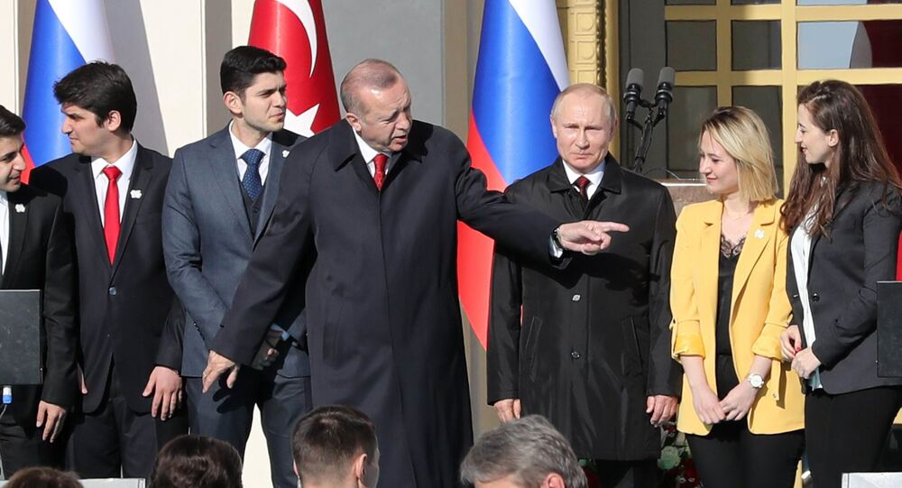 Turkish President Tayyip Erdogan (3rdL) and his Russian counterpart Vladimir Putin (3rdR) attend a symbolic ground-breaking ceremony for Turkey's first nuclear power station at the Presidential Palace in Ankara on April 3, 2018