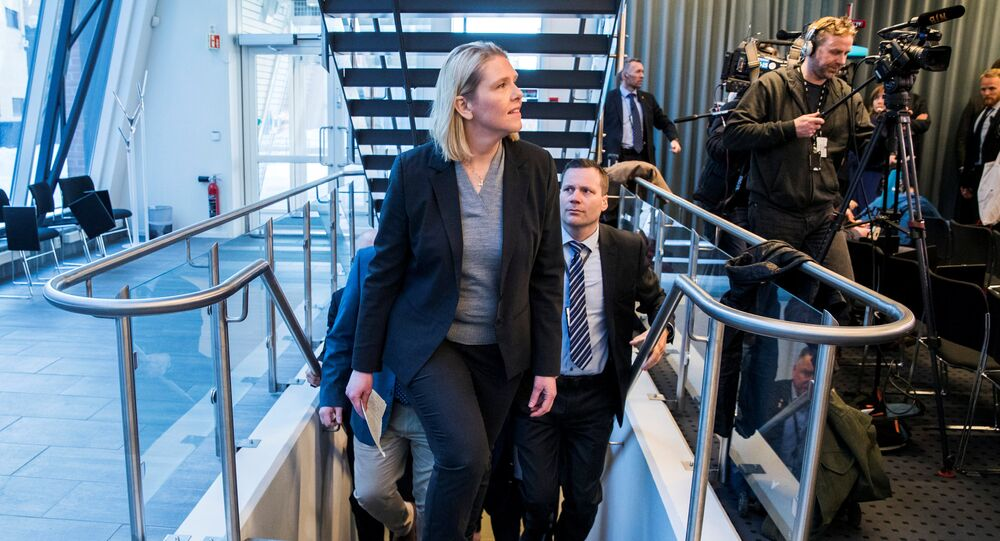 Norway's Justice Minister Sylvi Listhaug announces her resignation in Oslo, Norway, March 20, 2018