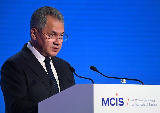 Defense Minister Sergei Shoigu speaks at the 7th Moscow Conference on International Security