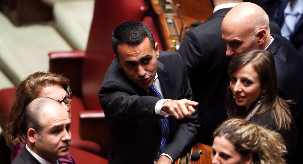 Five Stars Movement (M5S) leader Luigi Di Maio gestures at the Chamber of Deputies during the first session since the March 4 national election in Rome, Italy March 23, 2018