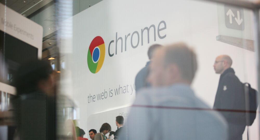 Google Chrome's logo is seen at Google's annual developer conference, Google I/O, at Moscone Center in San Francisco on June 28, 2012 in California