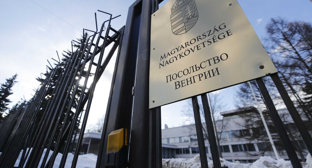 A view through a fence shows the embassy of Hungary in Moscow, Russia March 29, 2018