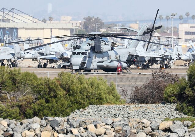 A United States Marine Corps CH-53E Super Stallion Helicopter sits at North Island Naval Air Station Coronado, California, April 12, 2015