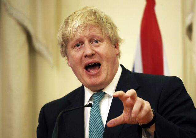 British Foreign Secretary Boris Johnson answers a question during a news conference after his meeting with Greek Foreign Minister Nikos Kotzias, in Athens on Thursday, April 6, 2017