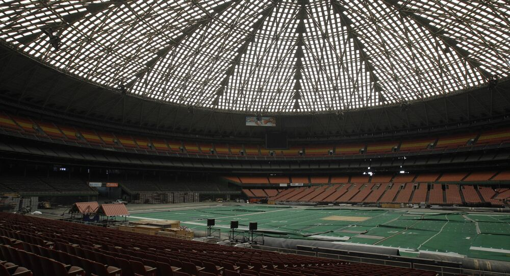 The Houston Astrodome, pictured in 2012, before the pitch was dug up