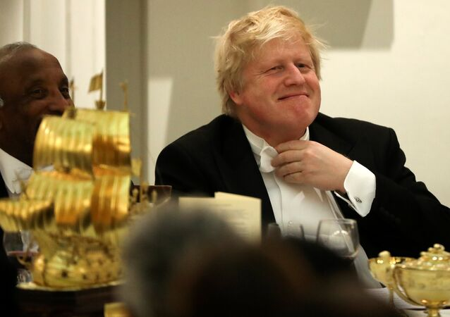 Britain's Foreign Secretary Boris Johnson reacts before speaking at a banquet with diplomats at Mansion House in London, Britain March 28, 2018.