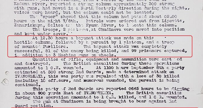 Report on British military operations in North Russia on September 7/8 1919
