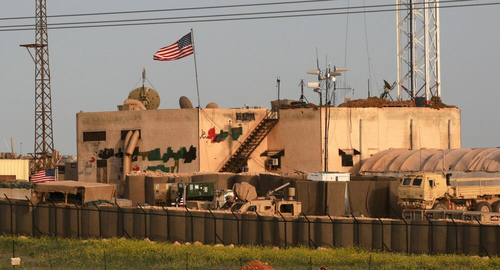 A picture taken on April 2, 2018 shows a general view of a US military base in the al-Asaliyah village, between the city of Aleppo and the northern town of Manbij