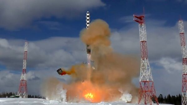 The launch of the Sarmat superheavy thermonuclear armed intercontinental ballistic missile from the Plesetsk launch site in the Arkhangelsk Region - Sputnik International