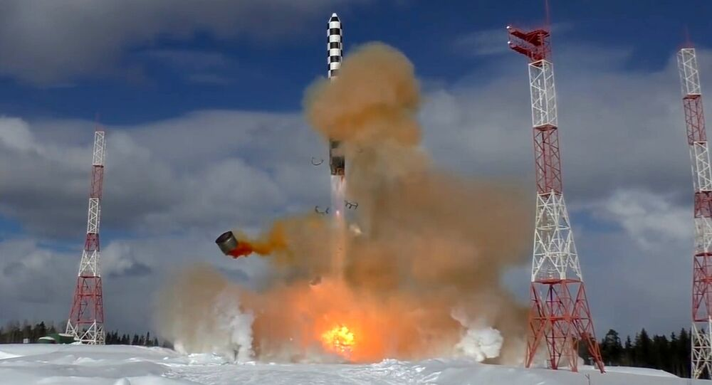 The launch of the Sarmat superheavy thermonuclear armed intercontinental ballistic missile from the Plesetsk launch site in the Arkhangelsk Region