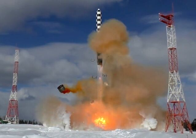 The launch of Russia's Sarmat superheavy thermonuclear armed intercontinental ballistic missile from the Plesetsk launch site in the country's Arkhangelsk Region. File photo
