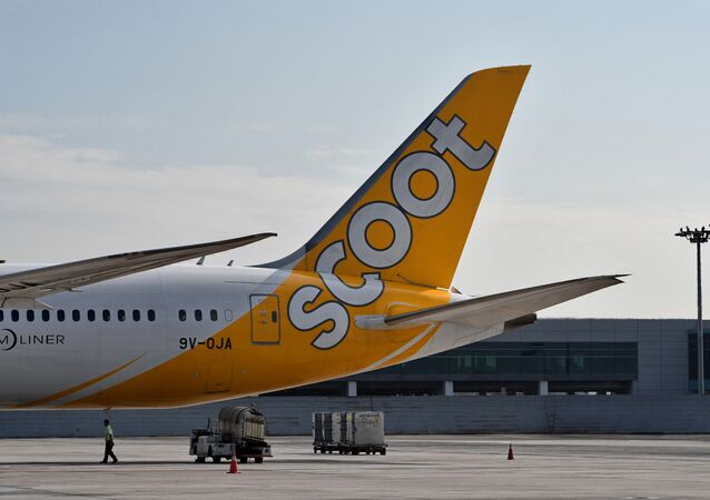 This photograph taken on March 28, 2018 shows the tail side of Scoot Airlines subsidiaries of Singapore Airlines (SIA) Boeing 787-900 aircraft at the terminal in Singapore Changi Airport