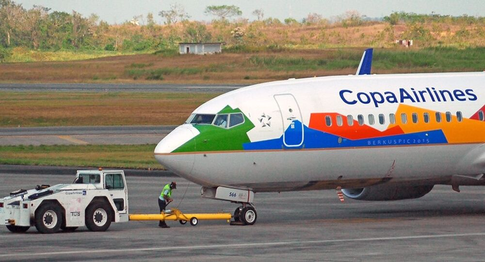 COPA Airlines Biomuseo livery just finishing pushback. MPTO / PTY.