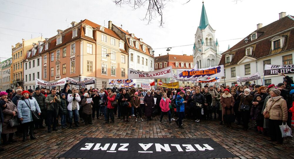 Angry Parents' March in Riga against Latvian President Raimonds Vejonis's decision to declare a law on Latvian as the only language of instruction in schools