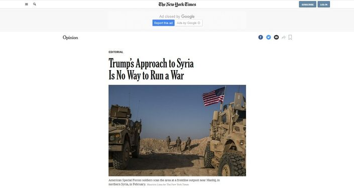 Screenshot from the New York Times.