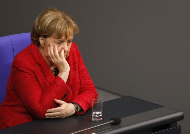 German Chancellor Angela Merkel looks on during a session at the Bundestag lower house of Parliament, on November 21, 2017 in Berlin
