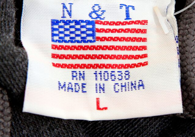The label of a Washington D.C. sweatshirt bears a U.S. flag but says Made in China at a souvenir stand in Washington, DC, U.S., January 14, 2011