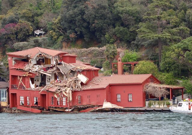 The damaged Hekimbasi Salih Efendi Mansion is seen after the Maltese flagged tanker Vitaspirit crashed into it by the Bosphorus strait in Istanbul, Turkey April 7, 2018