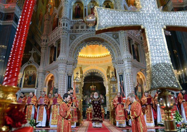 Head of the Russian Orthodox Church, Patriarch Kirill of Moscow and All Russia, leads the festive Easter service.