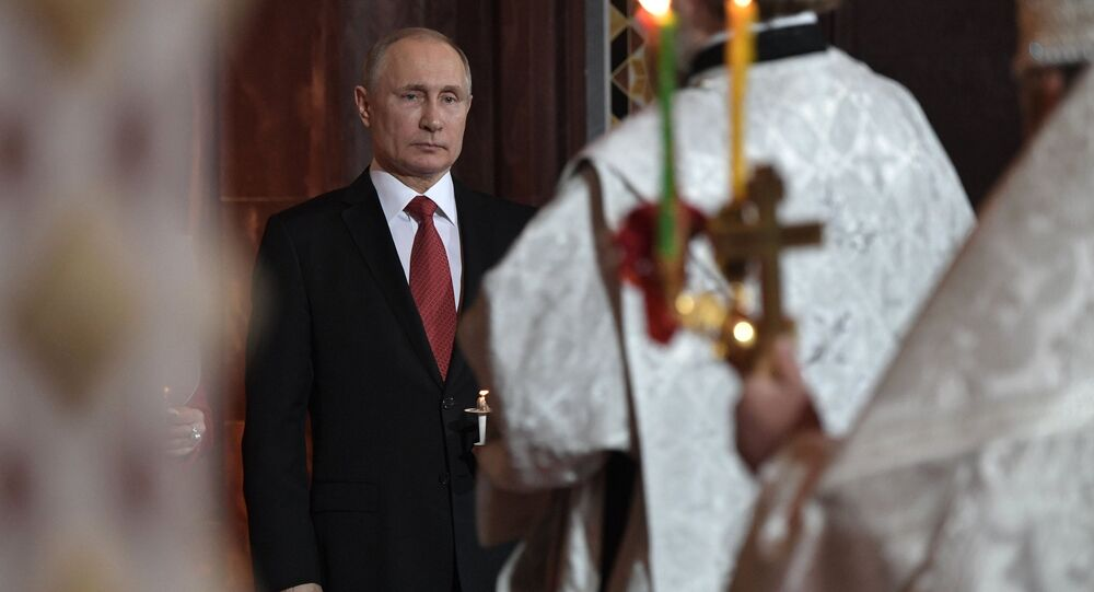 April 7, 2017. Russian President Vladimir Putin during the Easter service at the Christ the Savior Cathedral in Moscow