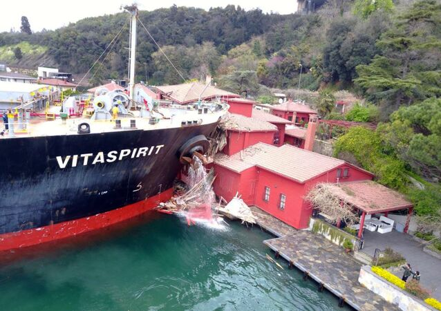 A tanker has crashed into a historic mansion on Bosporus strait, severely damaging the building, in Istanbul, Saturday, April 7, 2018 Turkey's official Anadolu news agency said the Maltese flagged ship's main machinery stopped Saturday, disabling its rudder and causing it to lose control