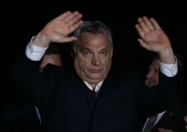 Hungarian Prime Minister Viktor Orban gestures in Budapest, Hungary, Sunday, April 8, 2018