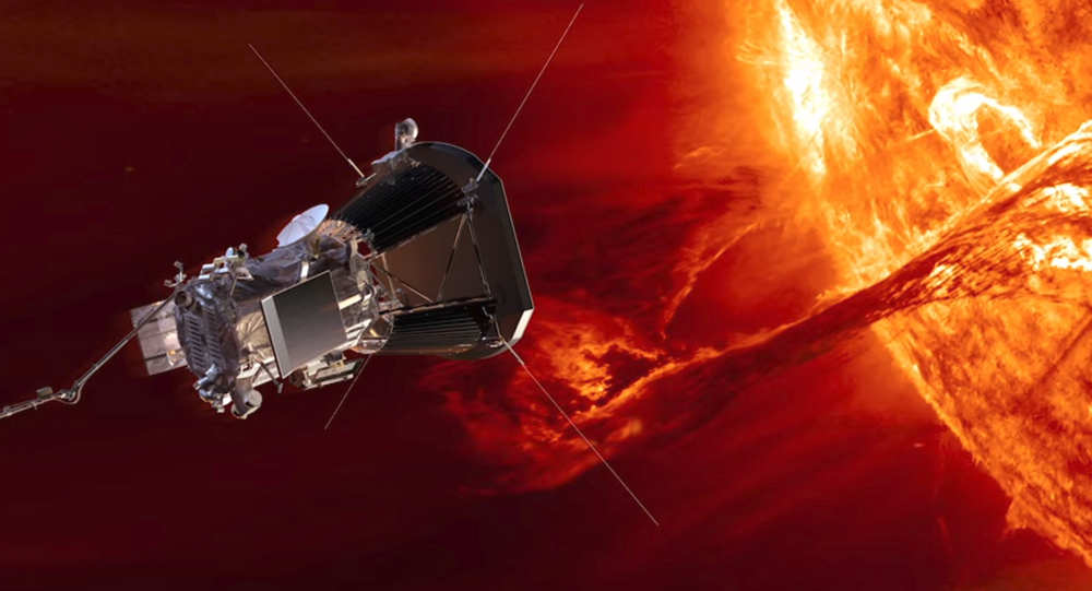 Artwork depicting NASA's Park Solar Probe studying the sun from its solar atmosphere