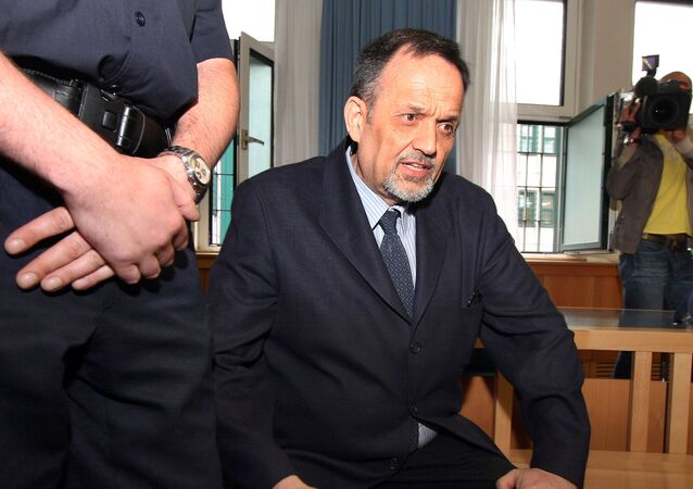 Austrian Gerd Honsik sits in the court room in Vienna's main court, Austria, on Monday, April 20, 2009