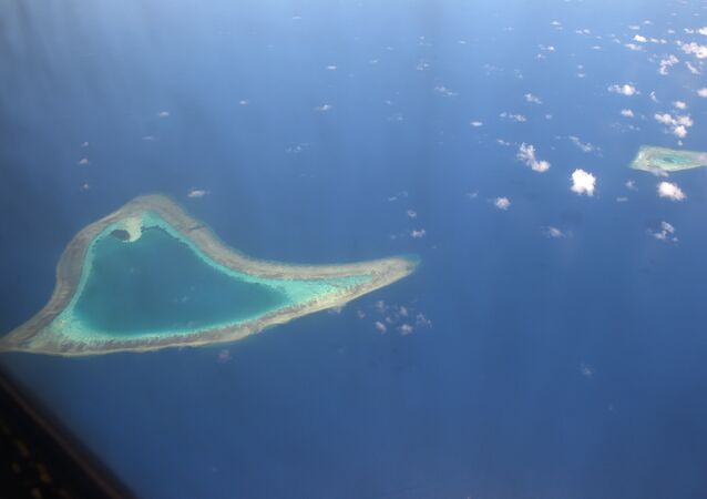 Aerial view of reefs in the disputed Spratly islands. (File)