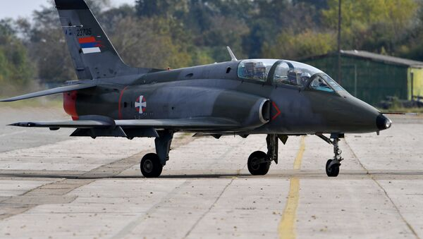 This file picture taken on October 13, 2016, shows a Serbian air force Super Galeb G-4 multi-purpose jet taxiing on the tarmac before a flight during the joint Russian-Serbian military exercises BARS (Brotherhood of Aviators of Russia and Serbia) 2016, at the military airport Batajnica, near Belgrade - Sputnik International
